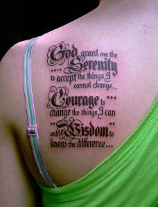 I guess this is ONE way to remember the Serenity Prayer.  Or, you could just get a plaque.  That would work, too...